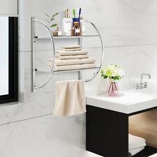Wall Mount Shower Organizer Holder 2-Tier Bathroom Rack Storage Toilet Towel Bar