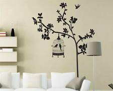 Wandtattoo Wandsticker Wandaufkleber Baum Vogelkäfig Blätter 100 x 120 W075
