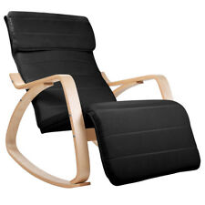 Bentwood Rocking Arm Chair Lounge Adjustable Foot Rest Fabric Cushion Black