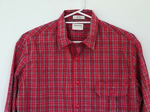 Driza Bone Long Sleeve Size Medium Button Up Mens Shirt Red Check Hardware Fit M