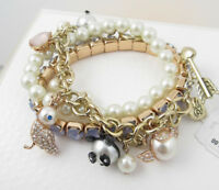 Betsey Johnson PEARL CRITTERS Set of 3 Stretch Bracelets w/Charms $55 NEW
