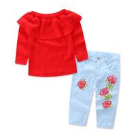 2PCS Toddler Kids Baby Girls Off Shoulder T-shirt Tops+Denim Pants Jeans Clothes