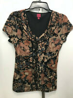 Women's 212 Collection Short Sleeve Floral Ruffle Lined Shirt Blouse S Small B7