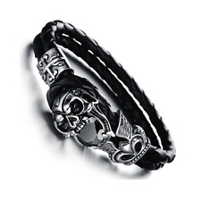 Black Cubic Zirconia Skull Bracelet, Stainless Steel & Leather, Fathers Day Gift
