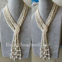 3 Strang echte kultivierte 4-5 mm weiße barocke Süßwasser Perlenkette 55 zoll