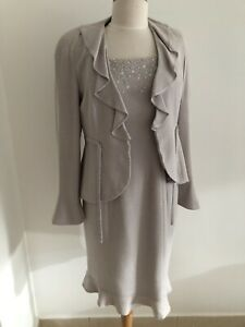 Gorgeous Rena Lange Dress And Jacket, Gray, Elegant, Sz8