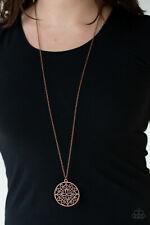 Paparazzi Jewelry copper mandala pattern pendant necklace w/ earrings