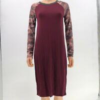 Long sleeve round neck camo jersey tunic dress camouflage burgundy sz L NWT AY11