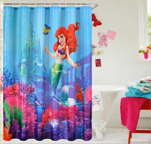 Shower Curtain Little Mermaid Fairy Pattern Waterproof Polyester Fabric 72 inch