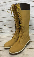 TIMBERLAND Women's Tall Leather Work Boots Size 10 Lace Up Tims Wheat