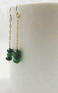 Handmade Green Stone Dangle Earrings