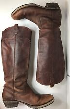 Frye Carson Lug Riding Boots Brown Leather Pull On Women Size 9.5