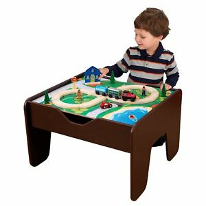 KidKraft Wooden 2-in-1 Activity Table with Board - Espresso with 230 accessories