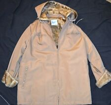 LONDON FOG FUR JACKET TRENCH COAT ONE SIZE DESIGNER WARM WINTER BEIGE TAN HOODED