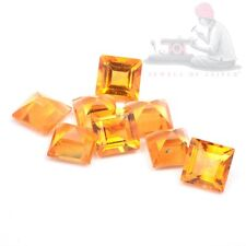 Natural Citrine 5mm Square Faceted Cut 5 Pieces Top Quality Loose Gemstone