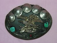 Vintage Indian Head Nickel Eagle Belt Buckle with Turquoise and Coral