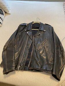 Harley Davidson Men's Billings Distressed Brown Leather Jacket Large Vintage