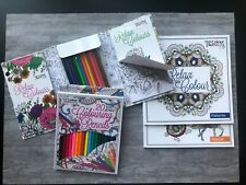 3 X  Adult Colouring Books Colour Therapy 180 pictures! + FREE Travel Set & Pens