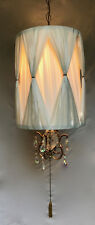 Great Hollywood Regency Mid Century Swag Light W/ Pleated Drum Shade & Prisms