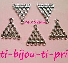 LOT de 10 PERLES CONNECTEURS 1 à 5 TRIANGLE breloques ARGENTES 24 x 22mm bijoux