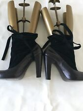 MARC by Marc Jacobs Leather Suede Platform Stiletto Ankle Elastic Boots Black6.5