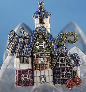 New HEIDI DAUS The Witzend Cottage Crystal Enamel Brooch Pin RET $190 BEAUTY WOW