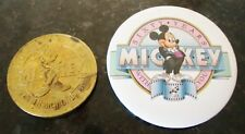 """60 Years of Mickey 1 9/16"""" Coin Steamboat Souvenir Disney 1988+Button Disneyland"""