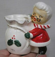 Vintage Christmas Mrs. Santa Claus and Toy Sack Match Holder or Planter