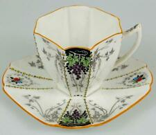 Rare Shelley Bunch of Grapes Demitasse Cup & Saucer ~c1925 Art Deco~11574~