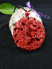 Chinese Natural Red Organic Cinnabar Dragon Phoenix Pendant Lucky Amulet Hot