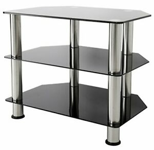 SDC600-A TV Stand for Up to 32-Inch TVs, Black Glass, Chrome Legs Silver Legs