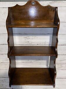 Vintage 3-Tier Wall Hanging Solid Wood Knick Knack Figurine Display Shelf Stand