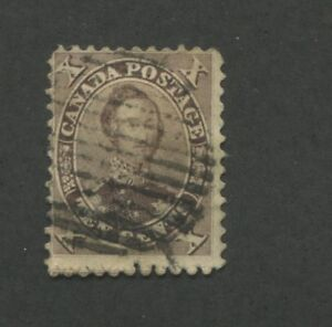 1859 Canada Stamp #17b 10p Used Average Grid Postal Cancel