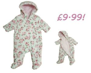 Baby Girls Pramsuit Snowsuit Winter Coat Warm Hooded Lined Velour Early Tiny