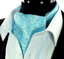 9f4318be520b Luxury Turquoise Scarf Blue Cravat Ascot Tie Floral Wedding Teal Paisley  Silk A1