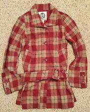 BB DAKOTA Women's Fashion Peplum Coat Jacket Medium red beige PLAID NEW