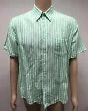 (Used) Mens Blazer Short Sleeve Button Front Shirt Size: L Classic Fit Stripes