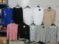 10 LADIES TOPS LOT BASIC EDITIONS ATTENTION FLEECE V-NECK SHIRT LONG SLEEVE NEW
