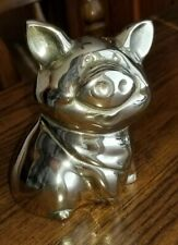 Vintage Solid Brass Pig Piggy Bank with Brass Stopper