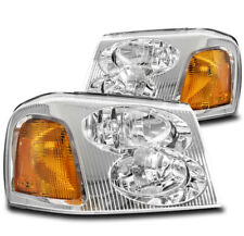 FOR 02-09 GMC ENVOY XL XUV FACTORY STYLE REPLACEMENT HEADLIGHT LAMP CHROME/AMBER