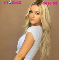 Women Fashion Synthetic Hair Lace Front Wig Wavy Full Wigs Ombre Blonde US Stock