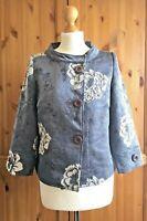 Swing Cape Jacket 8/10UK Pale Blue Grey Brocade Jackie O Coat 12 Mother of Bride