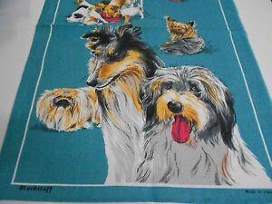 Vintage Teatowel 'Dogs' Linen/Cotton Blend by Blackstaff - Brand New