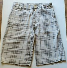 Vans Tan Blue Plaid Boys Youth Shorts Size 12