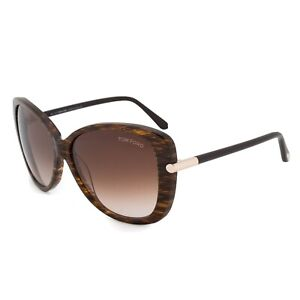 TOM FORD LINDA TF324 50F BROWN STRIPED GOLD OVERSIZED BUTTERFLY STYLE SUNGLASSES