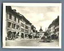 Suisse, Morat (Murten), La Grande Rue  Vintage silver print. Switzerland. Schwei