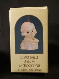 """Precious Moments Ornament """"Christmas Is Ruff Without You"""" 1989 FREE Ship NIB"""