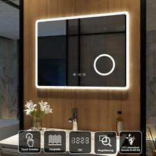 Led Badspiegel 80x60 cm mit Uhr Touch Beschlagfrei Kosmetikspiegel Wandspiegel