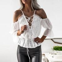 UK femmes Sexy épaule découverte lacets mousseline de soie chemisier haut