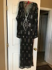 Black Egyptian Silver Assuit Long Tunic Dress Belly Dance